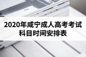 2020年咸宁成人高考考试科目时间安排表