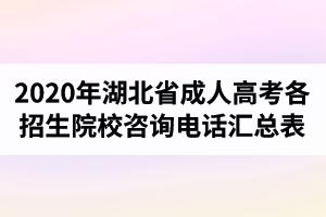 2020年湖北省成人高考各招生院校咨询电话汇总表