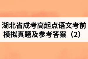 湖北省成人高考高起点语文考前模拟真题及参考答案(2)