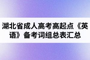 湖北省成人高考高起点《英语》备考词组总表汇总