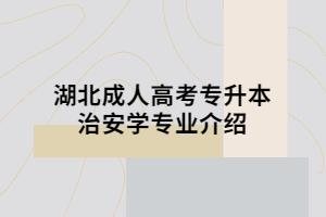 湖北成人高考专升本治安学专业介绍